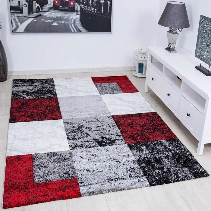tapis salon en damier rouge 60x110 cm