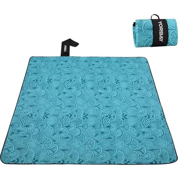yorbay couverture tapis de pique nique bleu 200 x