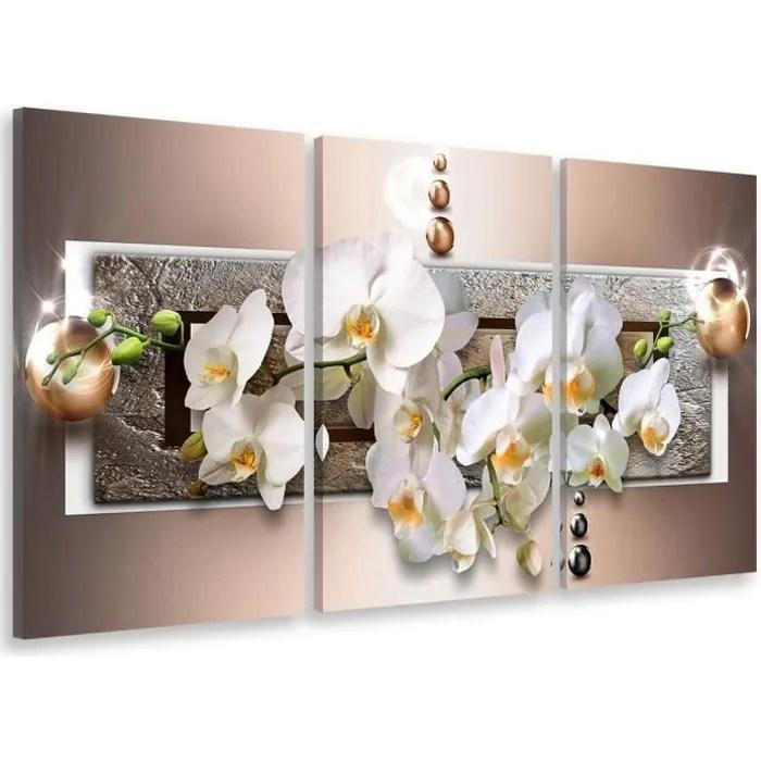 hxa deco decoration murale decoration chambre art mural tableau deco tableau triptyque graphique fleurs d orchidees 90x60 cm