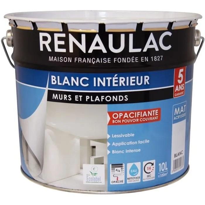 peinture acrylique mat blanc 10 l
