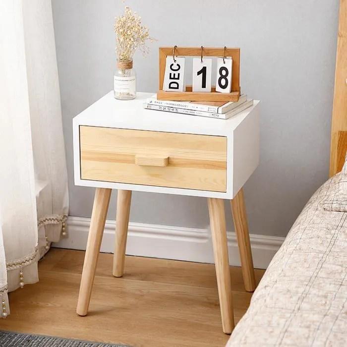 chene et blanc chevet de chambre table de lit chambre rangement decor de salon 1pc h 50cm
