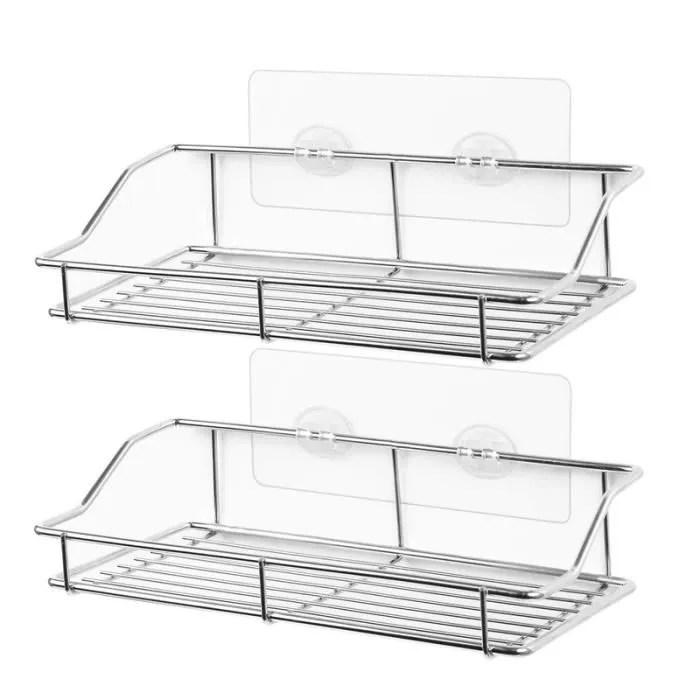 etagere de salle de bain douche murale adhesif sans trace de caddie organisateur de stockage sans percage grille cuisine en acier
