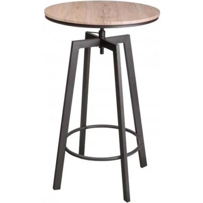 table de bar ronde style industriel en bois et metal noir ajustable 0 000000