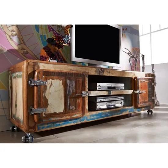 meuble tv avec roulettes bois massif recycle laque multicolore inspiration ethnique freezy 32