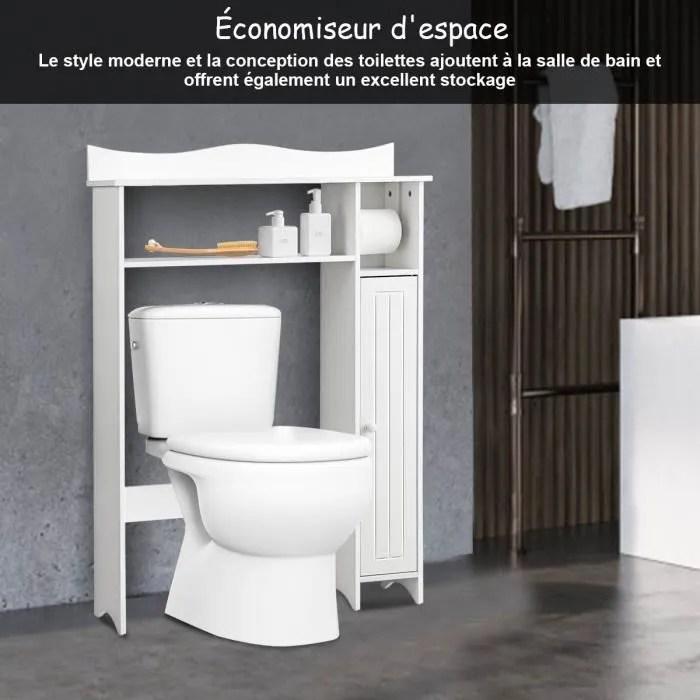 costway meuble de toilette wc armoire de rangement avec etagere ajustables et porte papier pour salle de bain blanche