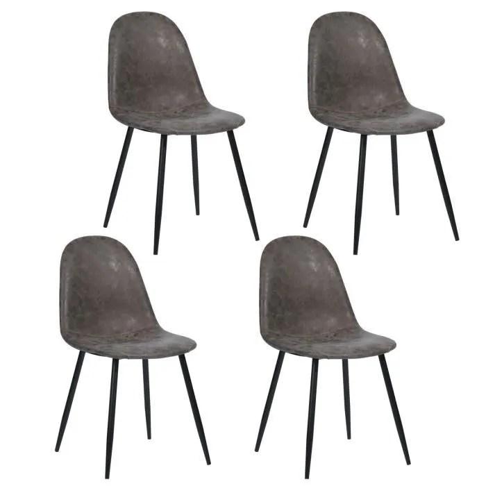 furnish1 lot de 4 chaises de salle a manger style scandinave design retro vintage en simili pu pied metal noir