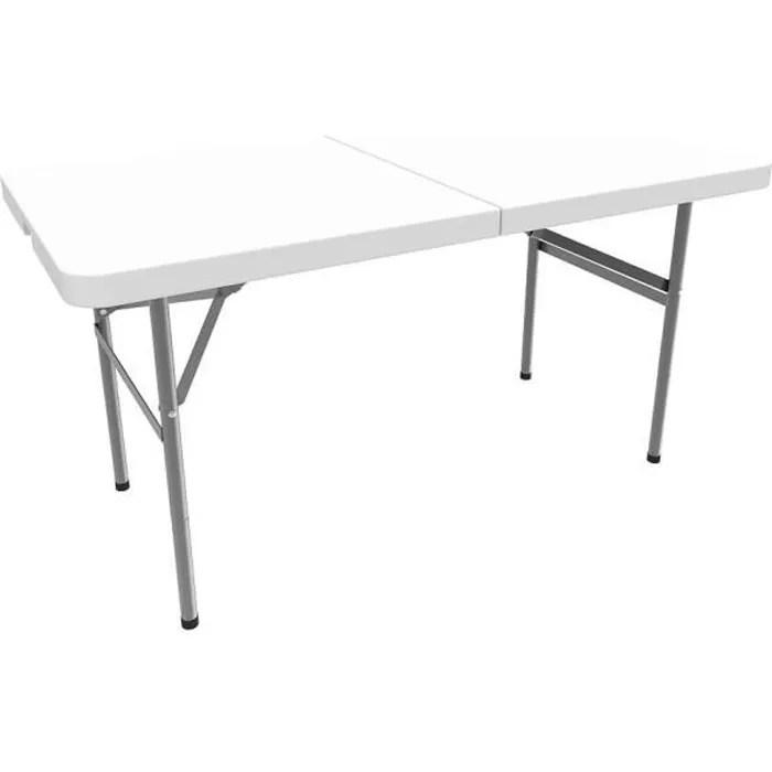 table en plastique robuste table pliante transportable 122 x 61 cm blanc pliable en deux materiau hdpe