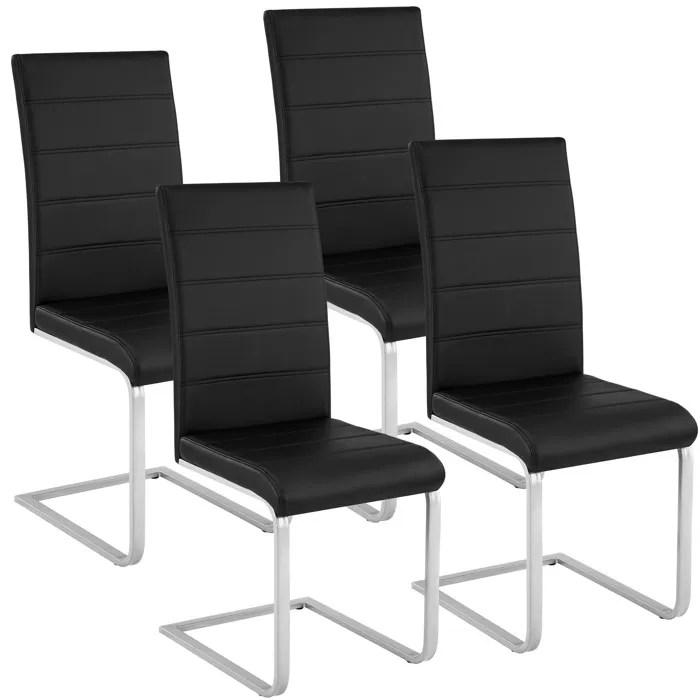 tectake 4 chaises de salle a manger rembourrees pieds en metal argentes design moderne noir