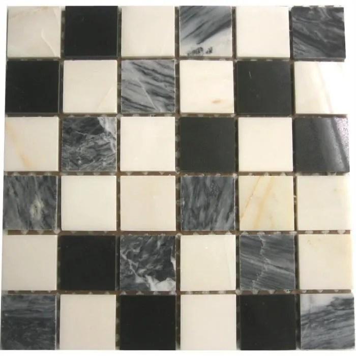 carrelage mosaique en pierre blanc gris et noir 305mm x 305mm mt0060 1m2