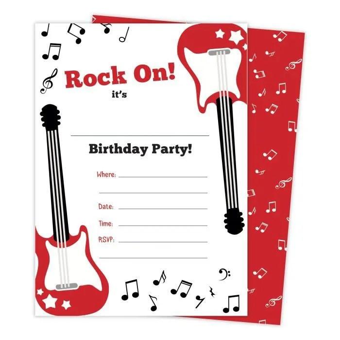 guitare 2 musique invitations joyeux anniversaire