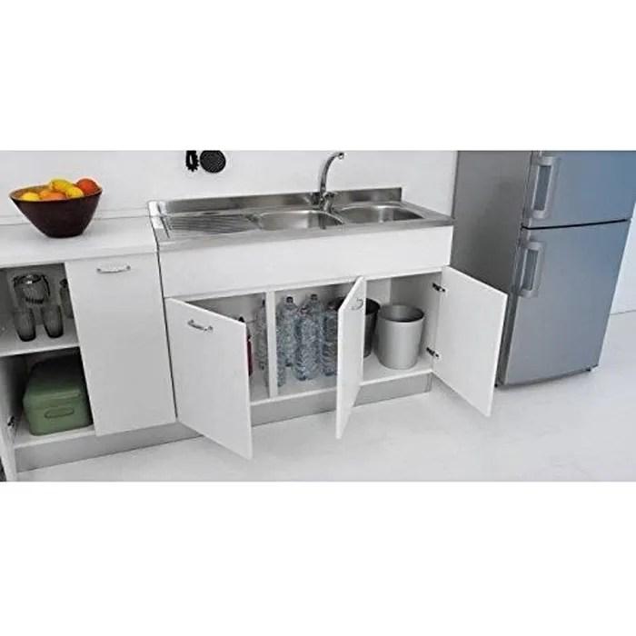 meuble sous evier 120 x 50 cm pour cuisine a double porte a associer a l evier en inox bianco