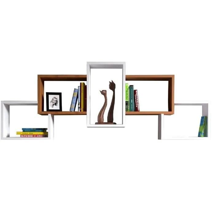 bold etagere murale etagere a livres pour decoration de salon en bois dans un design moderne blanc noyer