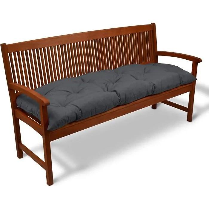 beautissu banquette flair bk 180x50x10cm gris graphite coussin pour banc de jardin terrasse balcon bancs non inclus