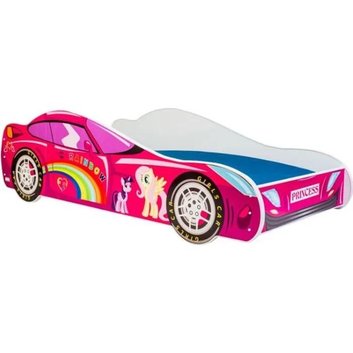 lit enfant voiture rose 160x80cm sommier matelas