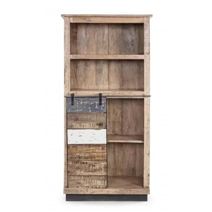 bibliotheque avec 1 porte et 4 etageres dim l 71 x p 34 x h163 cm