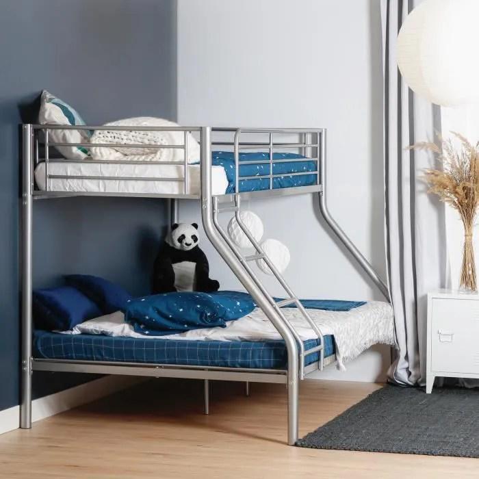 furnish1 lit superpose 1 lit deux places 140 x 190 cm et 1 lit une place 90 x 190 cm structure en metal gris matelas non inclu