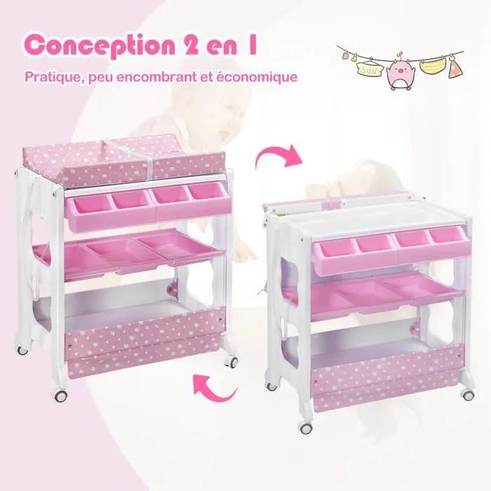 costway table a langer avec baignoire a roullette avec matelas a langer 2 etageres de rangement rose