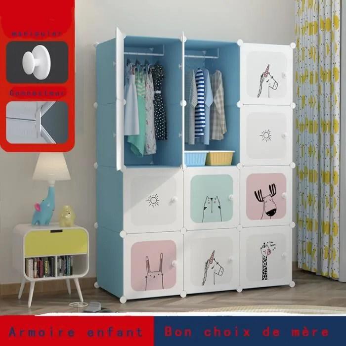 armoire enfant bleu 12 portes 2 treillis suspendu