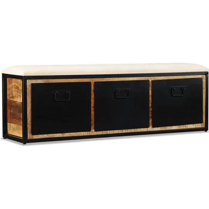 homgeek banc de rangement avec 3 tiroirs en bois de manguier style industriel 120x30x40 cm