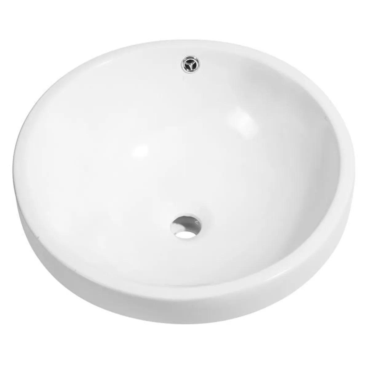Mecor Vasque A Poser Salle De Bain Ronde En Ceramique Moderne Meuble De Salle De Bain Blanche Achat Vente Meuble Vasque Plan Mecor Vasque A Poser Salle Cdiscount