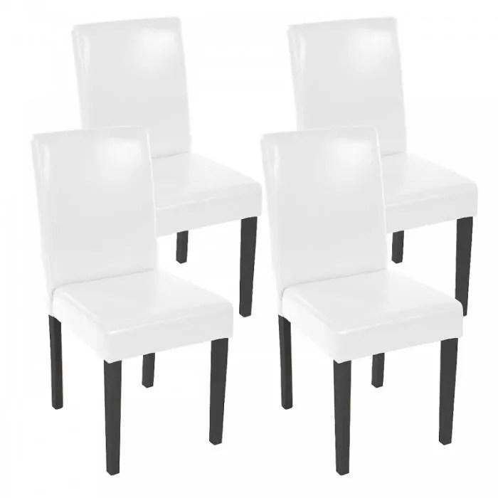 lot de 4 chaises de salle a manger simili cuir blanc pieds fonces cds04148
