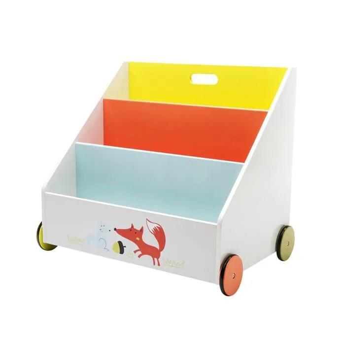 labebe coffre a jouets bibliotheque en bois avec decoration renard mignon meuble de rangement enfant en roulette