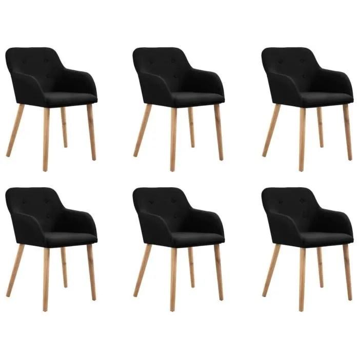 vidaxl 6x chaises de salle a manger noir tissu cuisine siege de repas salon