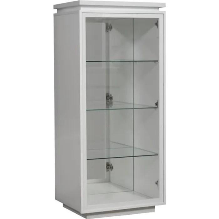 vitrine laque blanche 1 porte verre carmen l 55 x l 45 x h 125