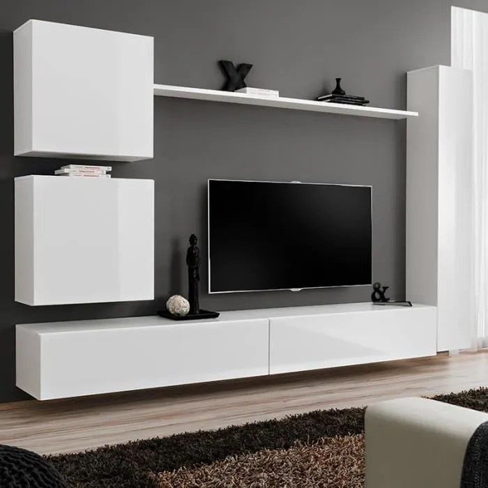 meuble tele suspendu blanc lissandro 3 l 280 x p 4