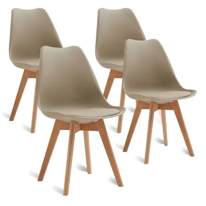 egoonm lot de 4 chaises scandinaves beige chaise de salle a manger design en similicuir et bois massif