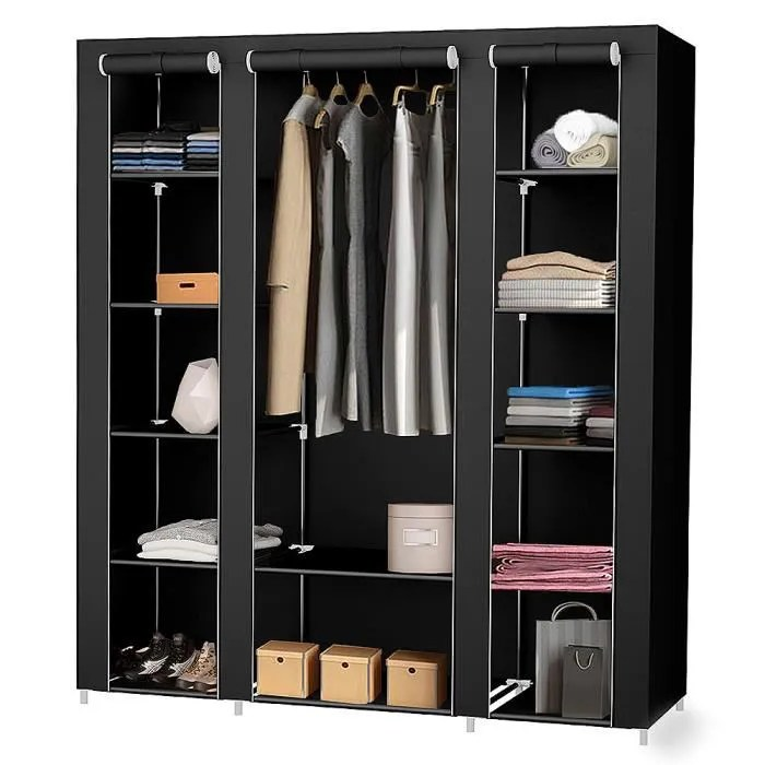 wsdwqaa armoire rangement chambre penderie pas cher noir structure stable en metaux 172 134 43cm
