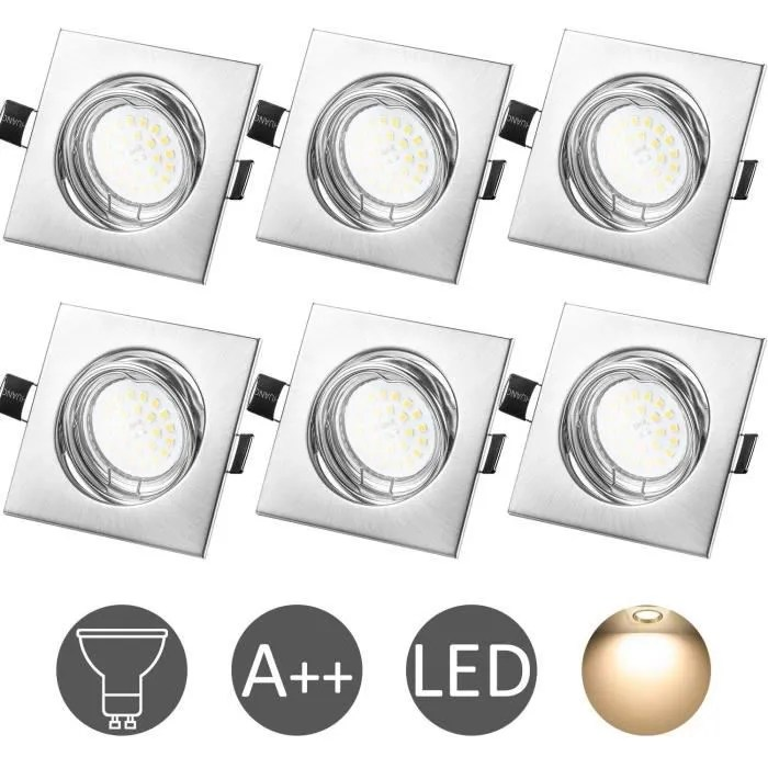 wowatt lot de 6 spot led encastrable complet orien
