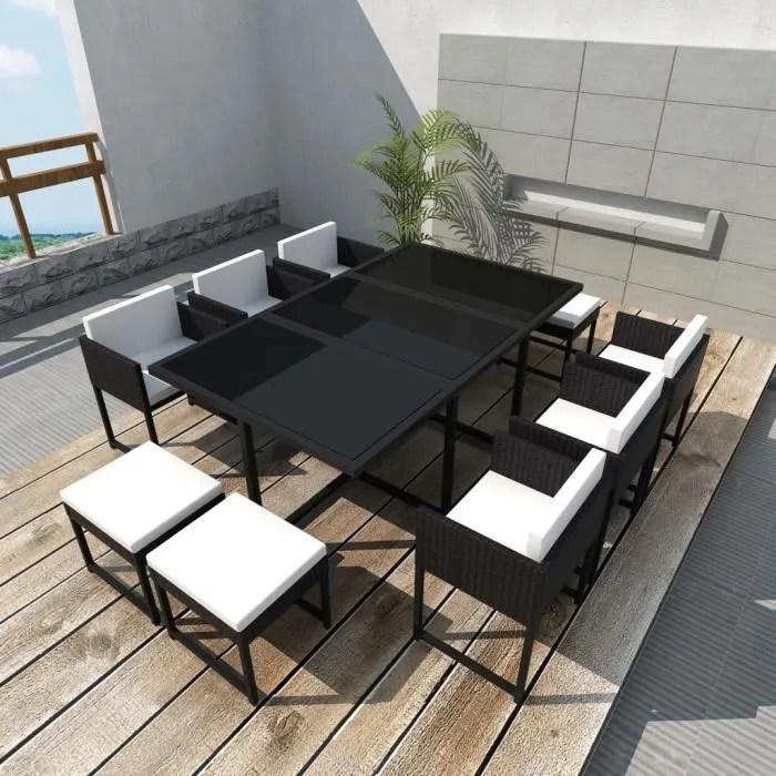 11 pcs mobilier de jardin salle a manger avec coussins resine tressee noir