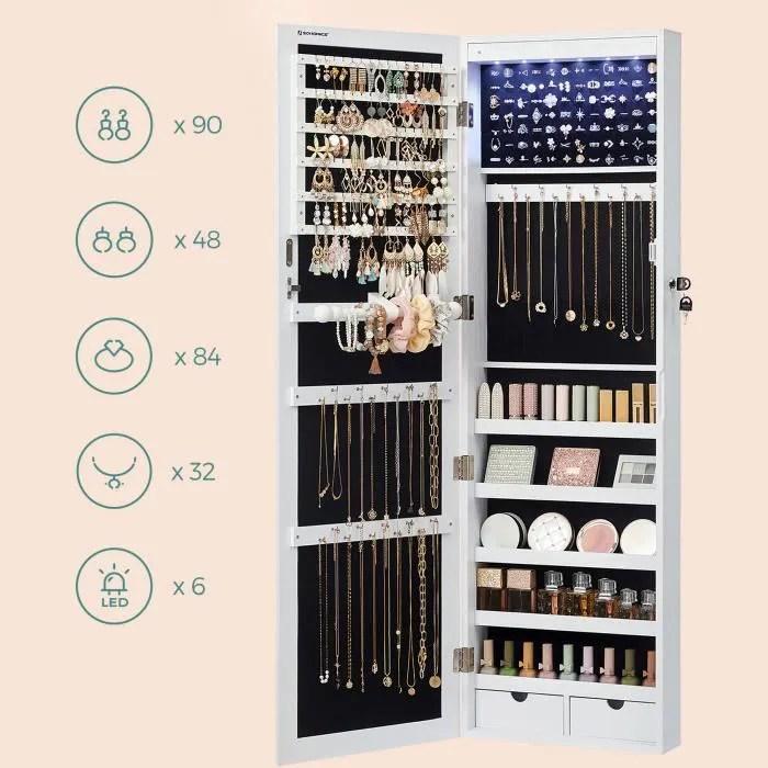 armoire a bijoux armoire de rangement mural armoire accrochee a la porte avec serrure et led songmics