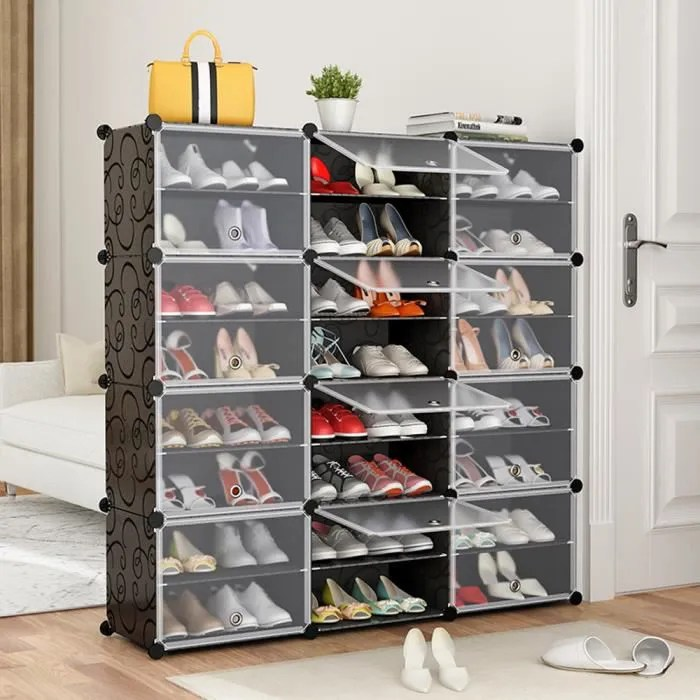 jeobest armoire a chaussures 24 cubes meuble a chaussures etagere avec portes plastique