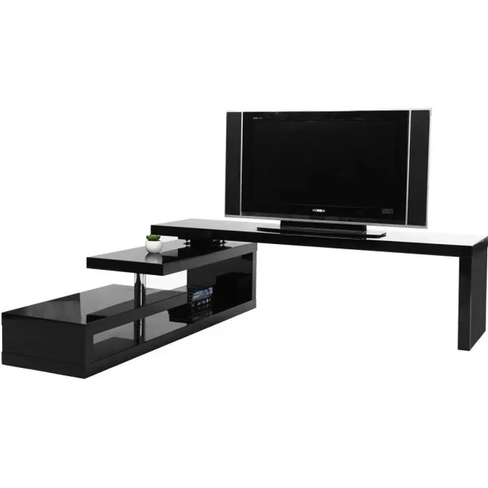 miliboo meuble tv design laque noir pivotant max