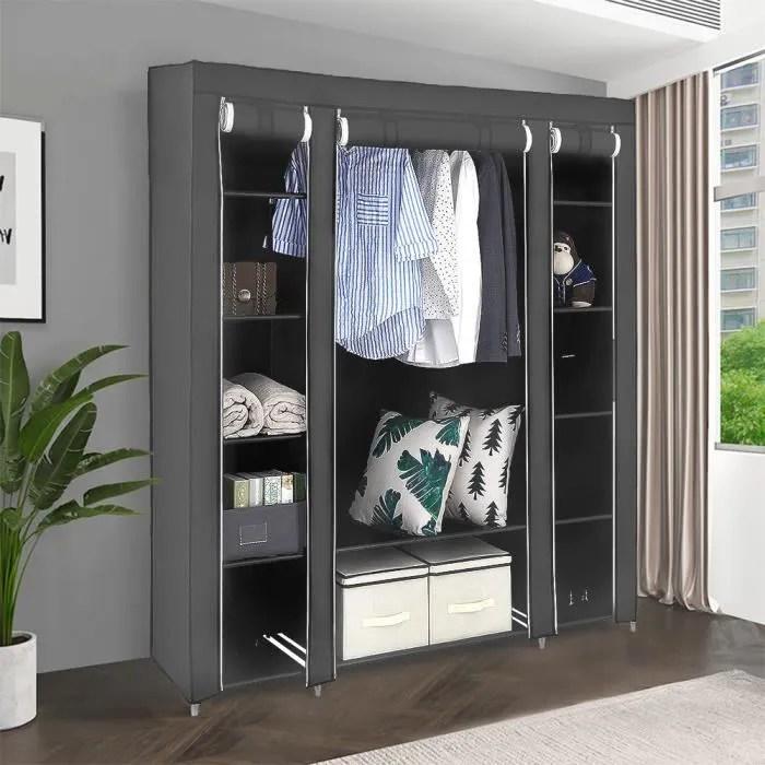 armoires penderie etagere tissu non tisse gris hauteur 172 cm entree chambre camping