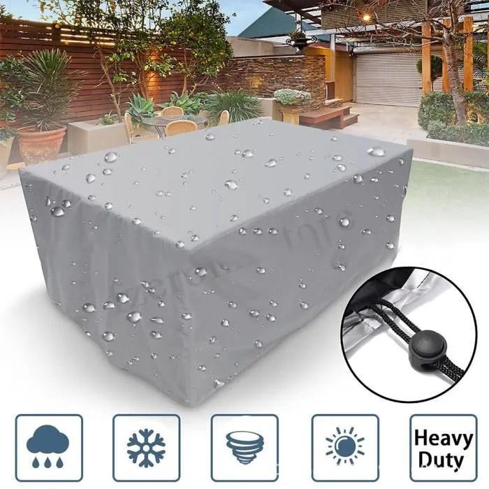230 165 80cm housse protection pour meuble de jardin housse salon de jardin rectangulaire pour chaise fauteuil table jardin argent