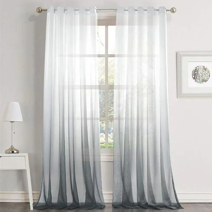 rideaux voilage blanc gris voilage ombre degrade a