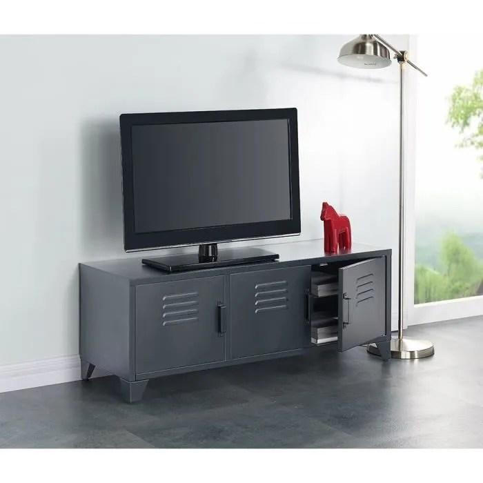 liverpool meuble tv metal gris l 120