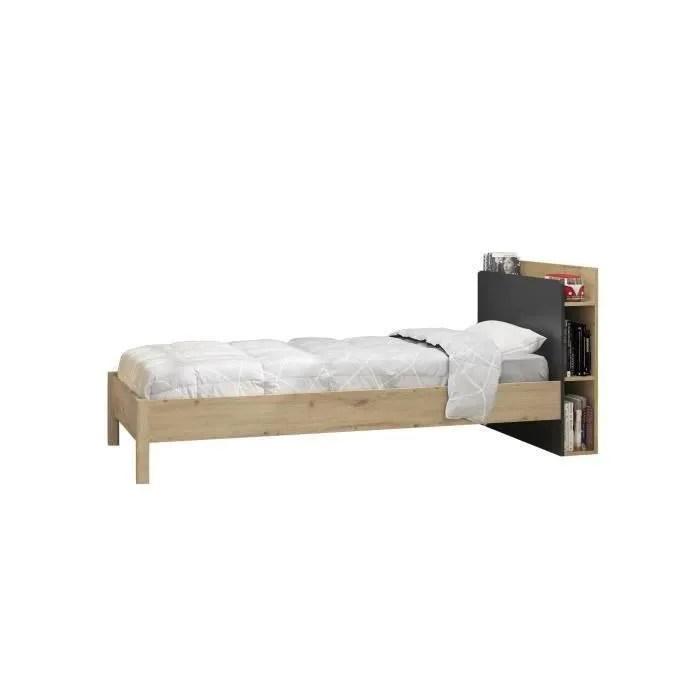 ensemble lit enfant tete de lit avec rangement decor chene artisan et noir 90 x 190 cm chatel