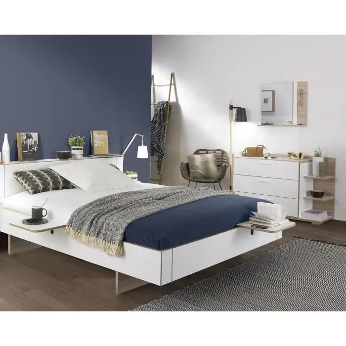 arcane ensemble chambre lit adulte 160x200 2 chevets commode miroir decor blanc et dedre made in france