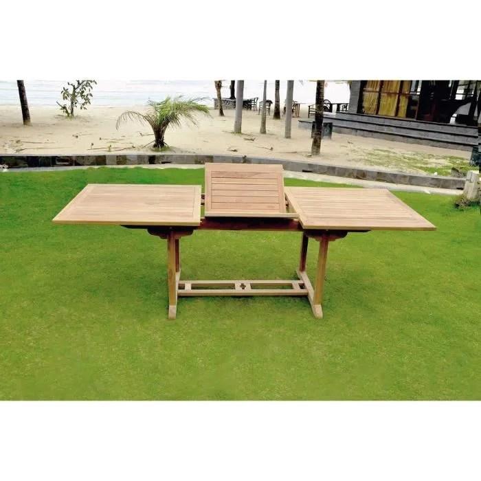 table rectangulaire en teck brut10 12 personnes dimensions de la table longueur 180 a 240 cm avec rallonge papillon
