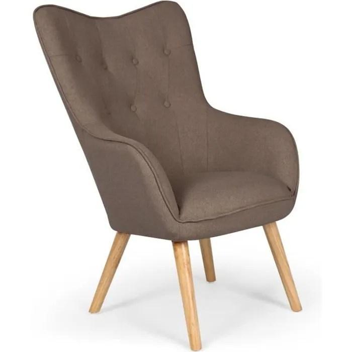 fauteuil scandinave klarys tissu taupe