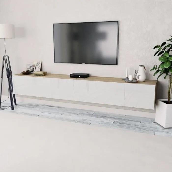 meuble tv contemporain scandinave 2 pcs agglomere