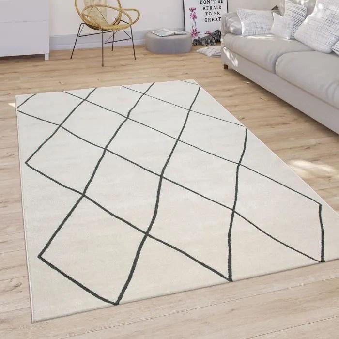 tapis salon motif losanges scandinave poils ras cl