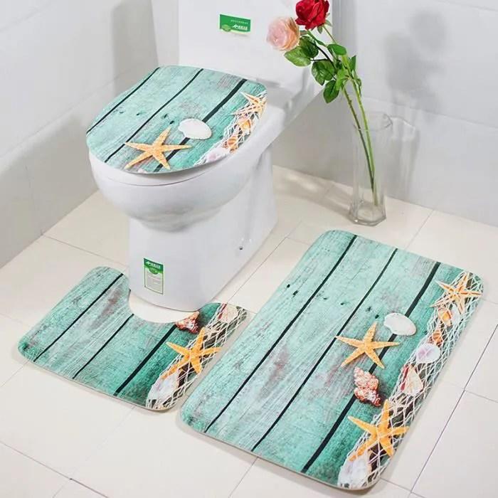 ensemble tapis de bain et contour wc