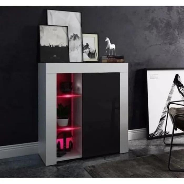 meuble design blanc mat et facade noir laquee avec