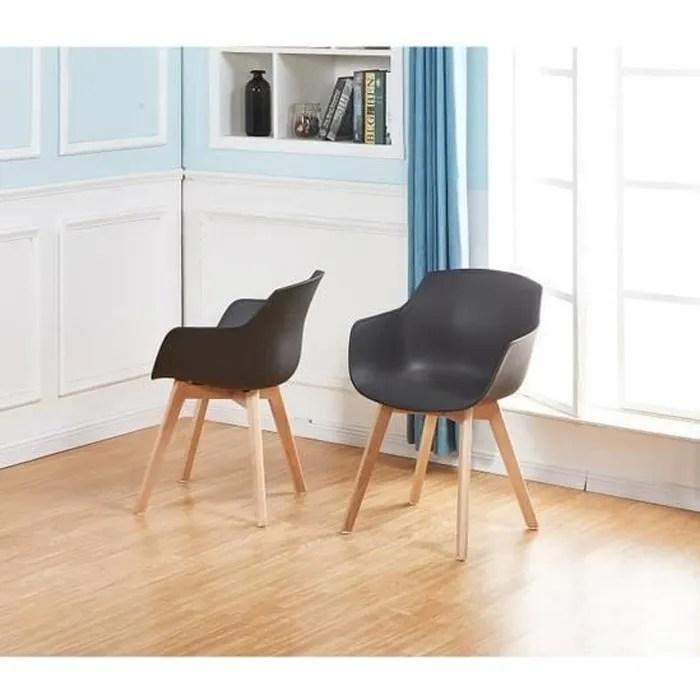 liepu lot de 2 chaise salle a manger fauteuils scandinave de cuisine avec pieds en bois de hetre massif noir