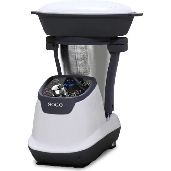 sogo robot cuiseur multifonction avec livre de recettes cruche en acier inoxydable de 1 75 litre cuiseur vapeur 2 l 1200 w